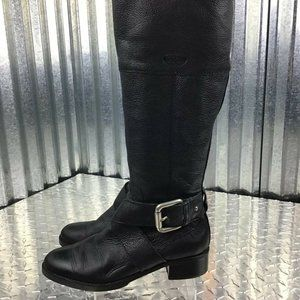 Fossil Classic Black Leather Knee High Riding Boot